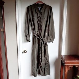 Carherines Shirt Dress Button Up Long Ties Waist